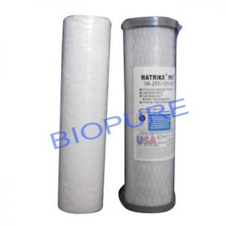 Twin replacement filter cartridges 1 micron pre + 0.5 micron carbon PB1