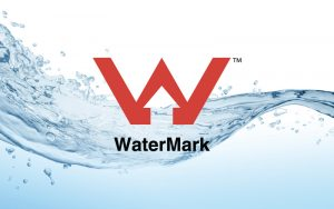 WaterMark Certification Logo with water splash background
